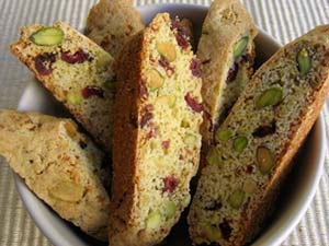 Bowl of Cranberry Pistachio Biscotti