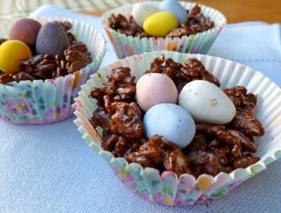 No Bake Chocolate Easter Egg Nests