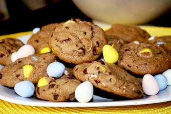 Chocolate Pudding Cookies with Cadbury Mini Eggs