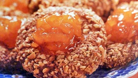 Cocoa Apricot Thumbprint Cookies