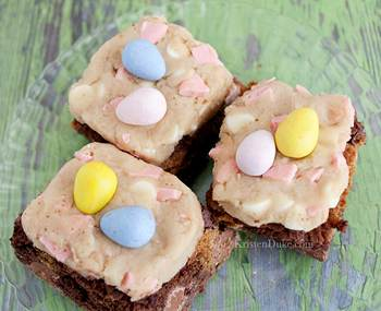 Cadbury Mini Egg Cookie Dough Brownies