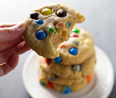 Big Soft M&M Cookies via Pinch of Yum