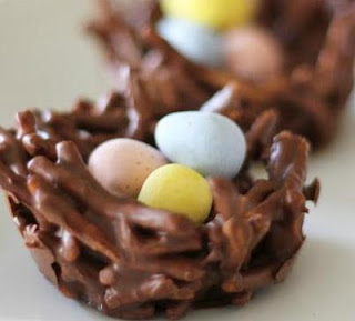 No Bake Chocolate Pretzel Easter Nests