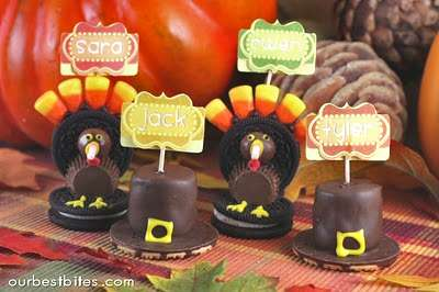 Oreo Turkeys and Pilgrim Hat Cookies