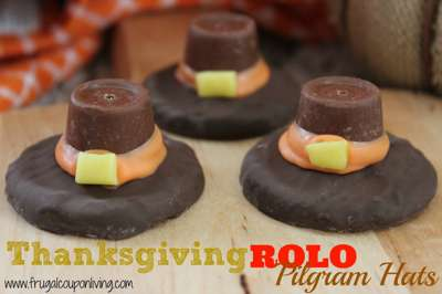 Rolo Pilgrim Hat Thanksgiving Cookies