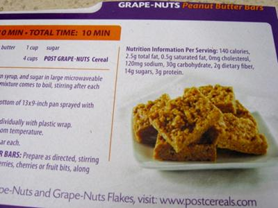 Grape Nuts Peanut Butter Bars